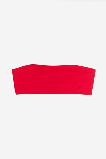 Red Let's Go Beaches Bandeau Bikini Top