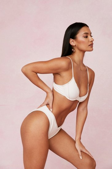 Cream Underwire V Neck High Leg Bikini Set