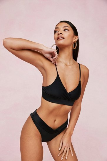 Black Seamless Crossover High Leg Bikini Set