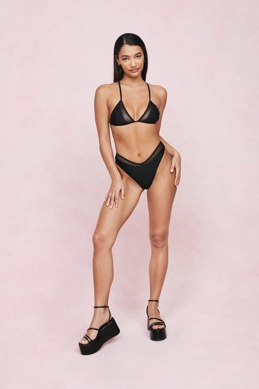 Black Mesh Panel Triangle High Leg Bikini Set