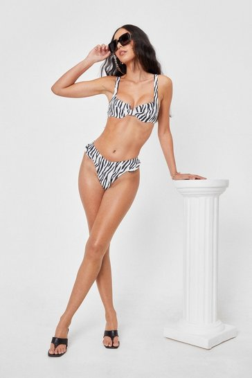 White Underwired Zebra Print Ruffle Bikini Set