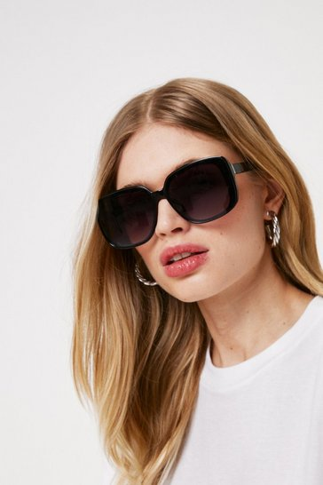 Black Frame Hungry Oversized Square Sunglasses