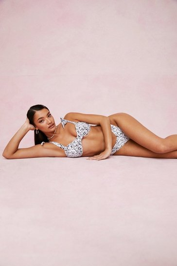 White Abstract Print Tie High Leg Bikini Set