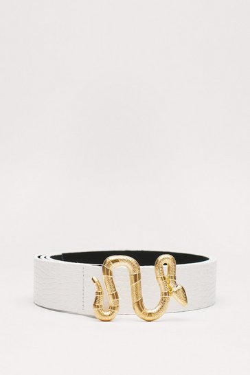 White You've Got Hiss Faux Leather Snake Belt