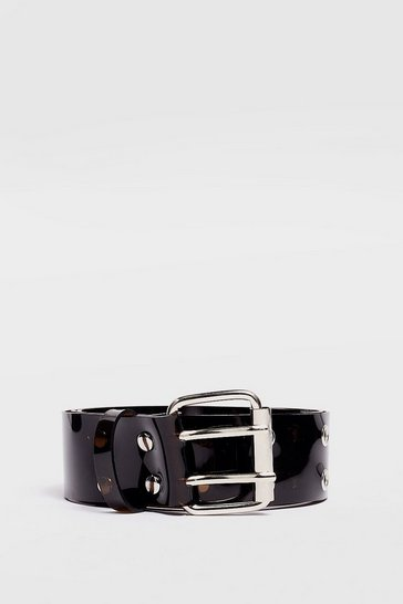 Black Eyelet It Happen Clear Buckle Belt