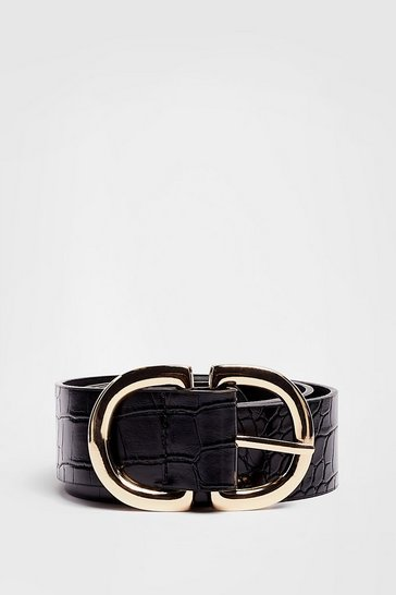 Black You Really Croc Me Going Faux Leather Buckle Belt