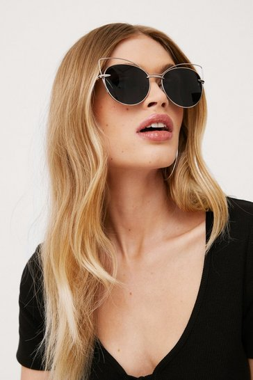 Black Heavy Metal Tinted Cat-Eye Sunglasses