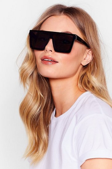 Black See If We Care Oversized Square Sunglasses