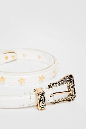 White Get a Head Star-t Faux Leather Western Belt