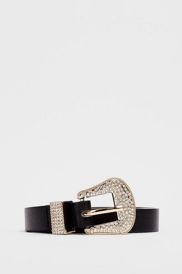 Black You West Believe Diamante Faux Leather Belt