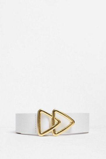 White Triangle Your Luck Faux Leather Belt