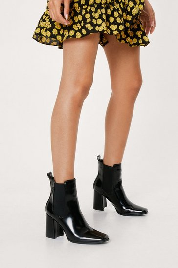 Black Chelsea It My Way Patent Heeled Ankle Boots