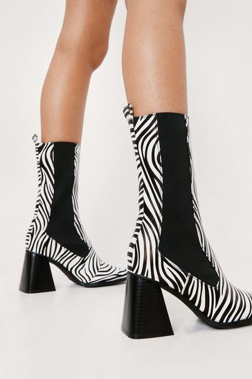 White Faux Leather Zebra Print Heeled Chelsea Boots