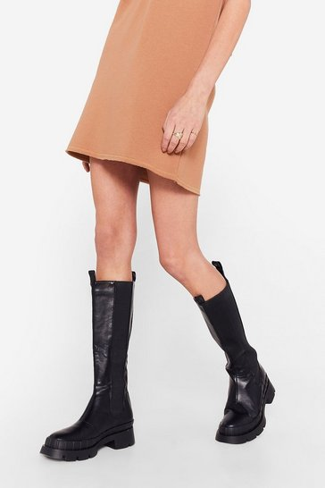 Black Faux Leather Knee High Chelsea Wellie Boots