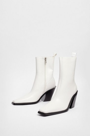 Off white Faux Leather Western Heeled High Ankle Boots