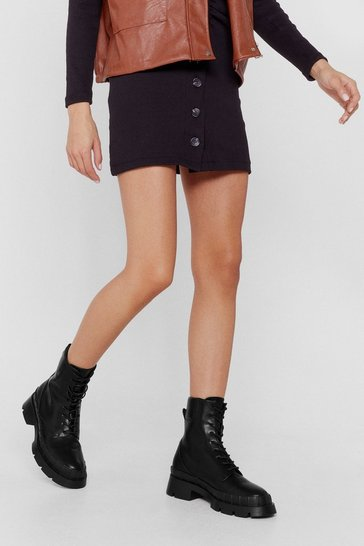 Black Live It Lace-Up Wellie Ankle Boots