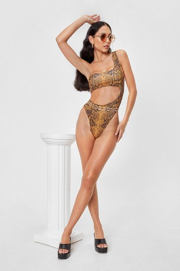 Yellow Cut-Out to Play Snake One Shoulder Swimsuit
