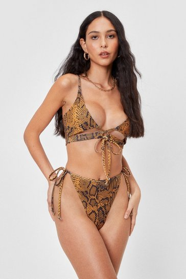 Yellow Moving Snakey Tie High-Leg Bikini