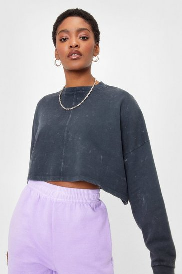 Charcoal Acid Wash Our Back Cropped Sweatshirt