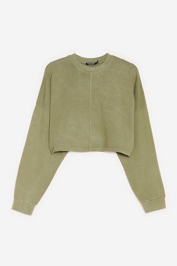 Green Acid Wash Our Back Cropped Sweatshirt