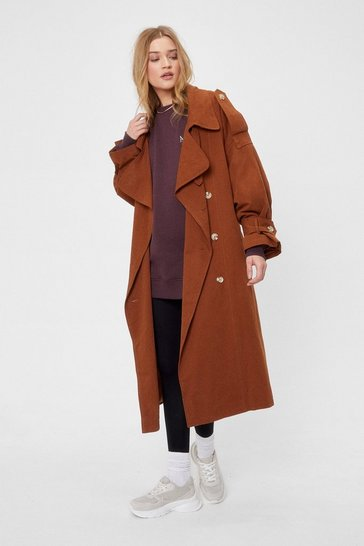 Chocolate Come Over-sized Here Belted Trench Coat
