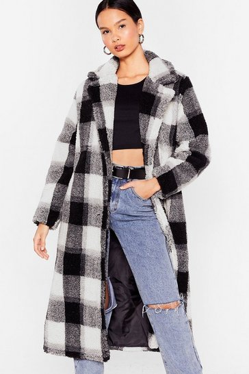 Black Check Faux Fur Longline Coat