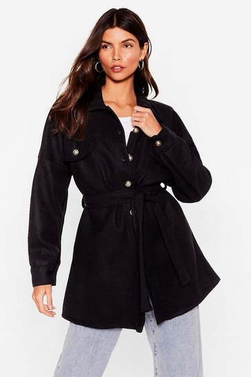 Black Faux Wool Belted Longline Jacket