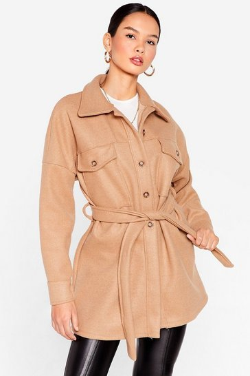 Camel Shirt-y Little Secret Belted Longline Jacket