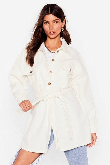 White Our Belt One Yet Longline Shirt Jacket