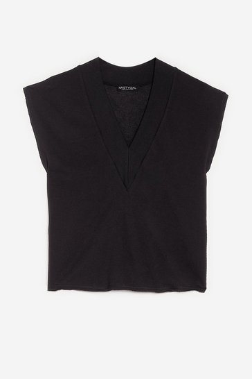 Black Sleeveless V Neck Sweatshirt