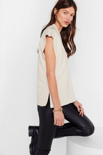 Cream Hey Have V Met Shoulder Pad Sleeveless Sweatshirt