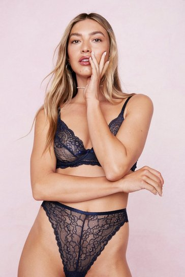 Petrol Lace And Mesh Bow Underwire Lingerie Set