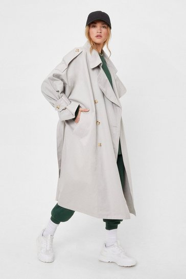 Grey We're On the Case Belted Oversized Trench Coat