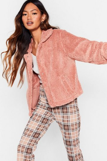 Lavender Rooting Faux Fur You Oversized Shirt Jacket
