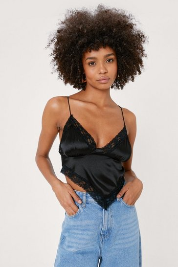 Black Satin Lace Trim Handkerchief Crop Top