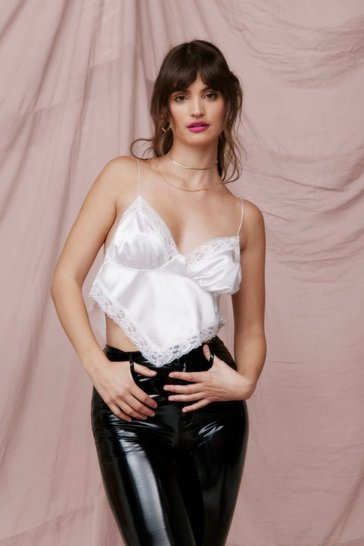 White Satin Lace Trim Handkerchief Crop Top