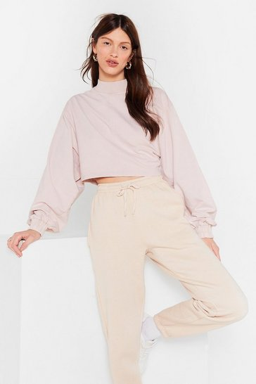 Sand High Roller Cropped Acid Wash Sweatshirt