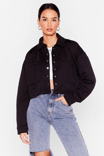 Black Quilted Cropped Shacket
