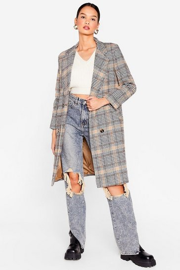 Camel Double Breasted Check Wool Look Coat
