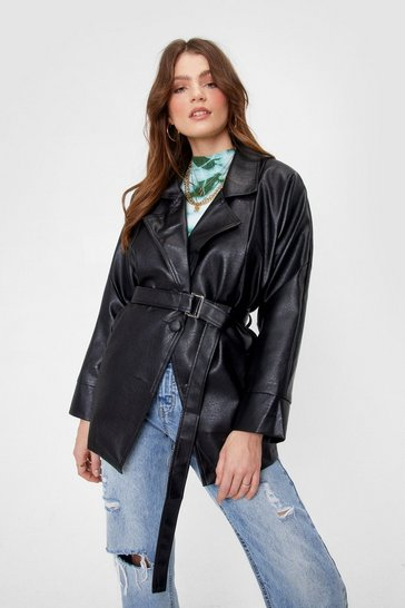 Black Show Up Faux Leather Belted Jacket
