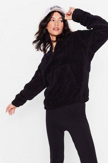 Black Fluffy Faux Fur Oversized Hoodie