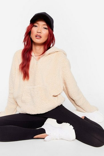 Sand Keep Moving Fur-ward Faux Fur Oversized Hoodie