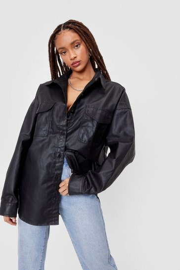 Black Coated Oversized Denim Shacket