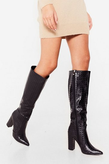 Black Woven You Wait for Me Knee-High Heeled Boots
