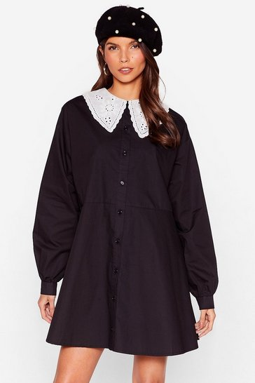 Black Broderie Collar Mini Smock Dress
