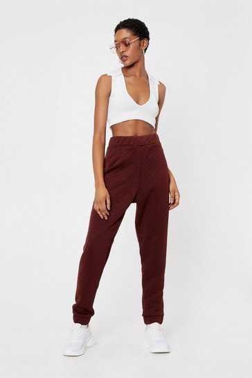 Chocolate Quilted High Waisted Sweatpants