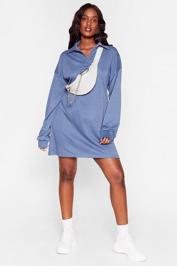 Blue Drop Right There Plus Sweatshirt Dress