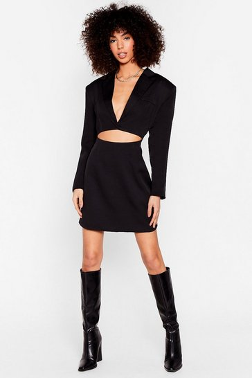 Black Cut-Out Shoulder Pad Blazer Dress