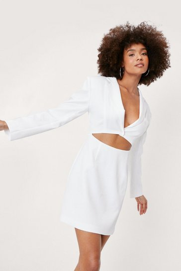White Cut-Out Shoulder Pad Blazer Dress