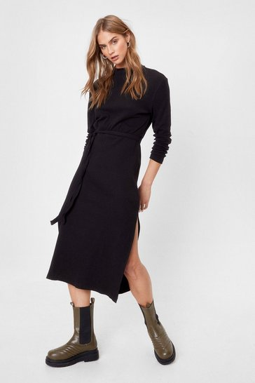 Black Could You Rib-peat That Belted Midi Dress